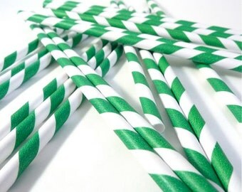 Emerald Green and White Paper Straws
