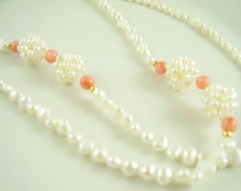 Vintage Freshwater Pearl and Angel Skin Coral Necklace, Vintage  Necklace, Pearl and Coral Necklace, Angel Skin Coral, White Pearl Necklace