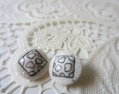 Vintage Buttons -2 adorable matching small, milk glass, with painted hearts, metal shank backs (lot 8198)