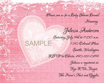 Baby Shower Invitation-Pink Hearts