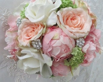Cottage Chic Silk Pink Peony Peach Rose Bridal Wedding Bouquet