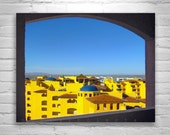Landscape Bold Colors, Architecture Art, Puerto Penasco, Rocky Point, Mexico Photograph, Surreal Art, Ersatz, Yellow Art, Blue Art