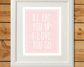 Eat You Up - Printable Art - Light Pink Nursery Art - Where The Wild Things Are