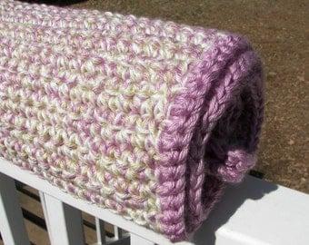 Blackberry Tan and White Crochet Baby Blanket - Triple Strand - Thick Baby Blanket - Warm Blanket - Multicolor - Purple - Baby Shower Gift