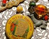 Buster Brown-Antique vintage buster brown bread advertising button assemblage necklace