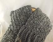 The Boyfriend Scarf 100% new wool crocheted huge scarf in dark grey marl