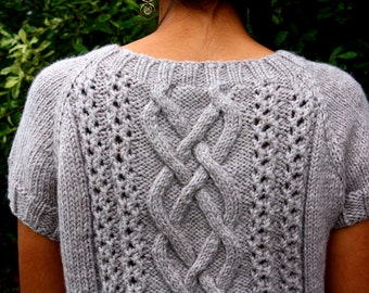ETTA TUNIC  Cables & Lace Long Pullover **Knitting Pattern PDF*** Sizes xs-xxl