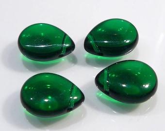 4 Beads...Green Smooth Czech Glass Puffed  Briolette Beads....16x12mm...BB