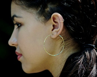 Gold Hoop Earrings - Large Gold Hoops - Two Inch Hammered Gold Hoop Earrings - Hammered Gold Earrings Everyday Wear Handmade Classic