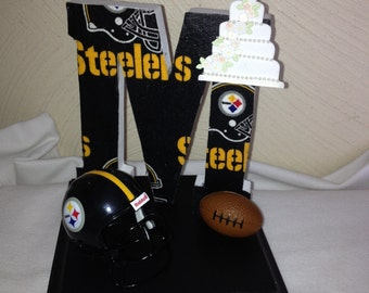 Cake Topper Wedding Bridal Football Themed Initial of the Last Name Pick your team