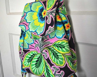 Metro Backpack with pocket for mini iPad or e-readers in Amy Butler Lark Dreamer Floral Couture