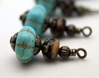 Vintage Style Turquoise Ribbed Melon with Brown Czech with Brass Bead Dangle Charm Drop Set