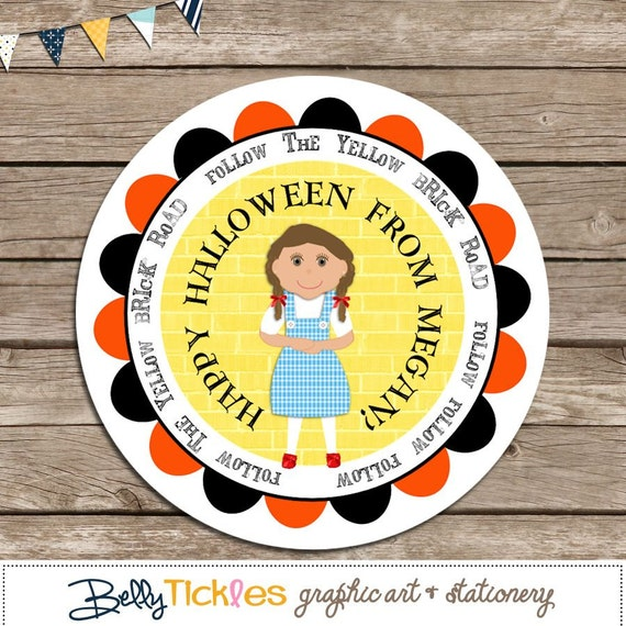 Follow The Yellow Brick Road--address or name or party or holiday stickers--choose size--choose gloss or matte