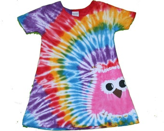 Owl Dress in a Rainbow Tie Dye Swirl with a Hot Pink Owl