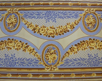 1920s Antique Vintage Wallpaper Blue and Gold Roses Victorian Frieze Border Wallpaper by the Yard--Made in France