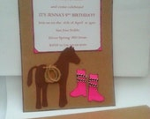 Cowboy Cowgirl Horse Vintage Inspired Birthday Party Invitation Invite Thank you Card