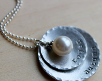 FREE SHIPPING. Handstamped Family Necklace. Domed Cuped Circles. Child names. Wire Wrapped Swaroskvi Pearl.