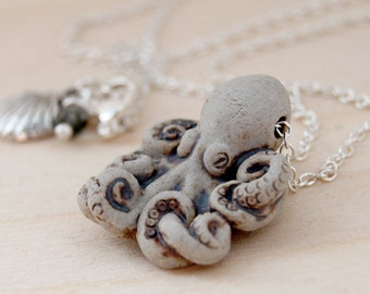 Grey Octopus Necklace | Cute Octopus Pendant Necklace | Ceramic Octopus Charm