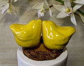 Yellow Love Bird Wedding Cake Topper