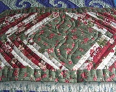 Red, Green, Festive Floral Table Runner