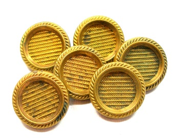 6 Antique buttons, Victorian metal with imitation fabric design.