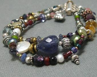 3 Strand Gemstone and Sterling Beaded Bracelet, Multi-Strand Sterlingg annd Gemstone Bracelet