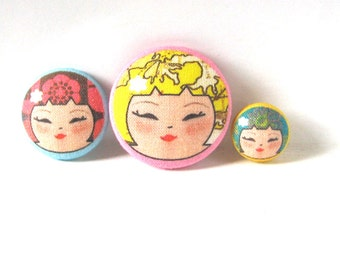 Kokeshi Doll Buttons, Covered buttons, Large Sewing Buttons, Asian Buttons, Fabric Buttons, Unusual Buttons, Designer Buttons, Sewing