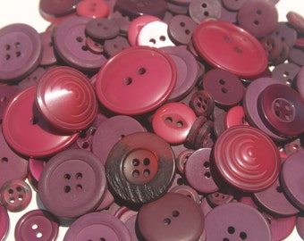 Dark Red Buttons - Assorted Bulk Button Sewing - 120 Buttons - Cranberries - CHRISTMAS