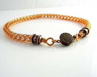 10.75 inch Copper Trichinopoly Symbolic Slave Anklet with Antiqued Copper Ends and Clasp