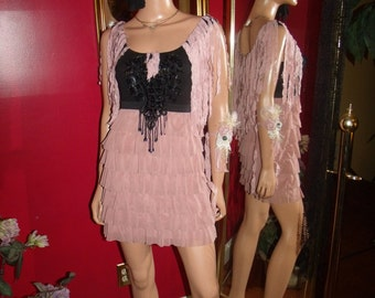 Reproduction  20s Theme   Flapper Dress Fuffled   Charleston  style   Size S