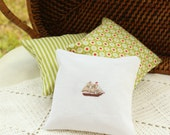Voyage on the Sea-  Hand Stitched Bowl Fillers - Mantel Pillow - Ship - Sail Away