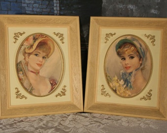 Vintage Victorian Ladies Pair Framed Pictures Plaques French Shabby Chic