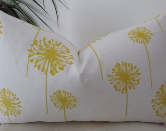 "Yellow Dandelion Pillow Cover - Lumbar Pillow Cover 12""x20"" or 12""x18"" or 18""x18"""