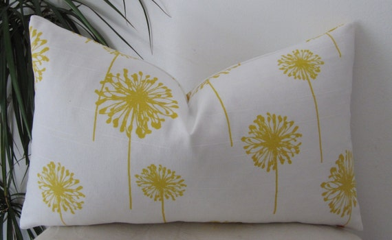 """Yellow Dandelion Pillow Cover - Lumbar Pillow Cover 12""""x20"""" or 12""""x18"""" or 18""""x18"""""""