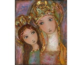 Ora Pro Nobis - Saint Anne & Saint Mary - Print from Painting 6 x 8 inches By FLOR LARIOS