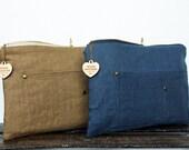 Ben D. Linen clutch-Cadet Blue or Gold Linen