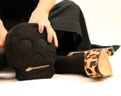 Calavera (Skull) Pouch- Black canvas bag with zipper closure