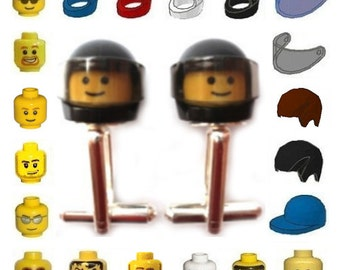 Custom design your own Cufflinks - Handmade with LEGO(r) brick Heads and head gear