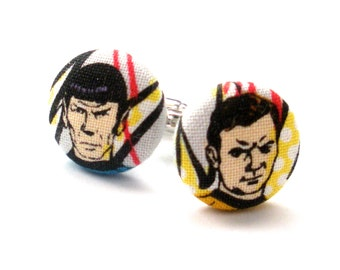 Star Trek Fabric Covered Button Cufflinks, Fathers Day, Groomsmen, Mens Accessories, Wedding, Button Accessory