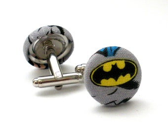 Batman Fabric Covered Button Cufflinks, Superhero, Comic Con, Geeky, Accessory, Groomsman, Wedding Cufflink