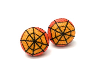 Fabric Button Earrings, Jewelry, Halloween Earrings, Spiderweb Earrings, Child Earrings, Halloween, Orange and Black