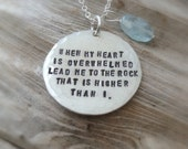 Silver Scripture Necklace - Psalm 61:2 Bible Quote Sterling Jewelry