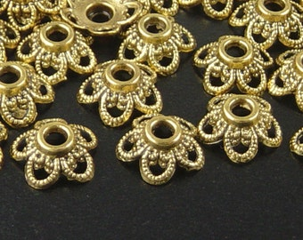 Bead Cap 50 Antique Gold Flower Filigree Victorian 11mm x 5mm 2mm hole NF (1135cap11d1)xz