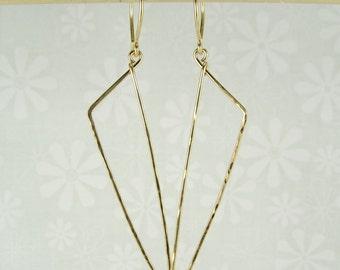 DAGGER GOLD EARRINGS, gold dagger shaped earrings, long gold earrings