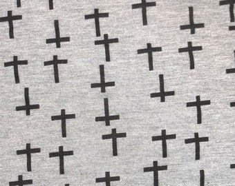 "Remnant Small Black Cross Grey Stretch Jersey Knit Fabric (24x38"")"