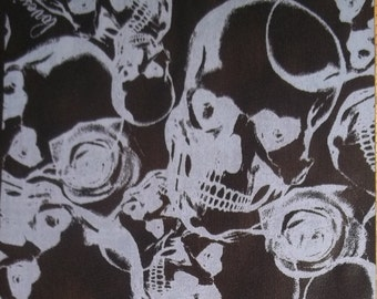 LOVESICK Awesome Rockabilly Skull Rose Printed Chiffon Purple Black  Fabric BTY
