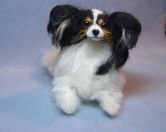 Custom Papillon Dog Pet Portrait needle felted sculpture memorial miniature