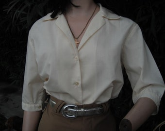 Vintage 1960s/70s Off White  Blouse -- Three Quarter Sleeve Pin Up Blouse