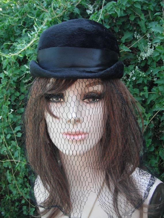 1940's/50's Vintage Stern Brothers Hat / Black Vintage Hat