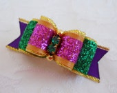 "Dog Bow- 5/8"" Mardi Gras Sparkle Dog Bow"